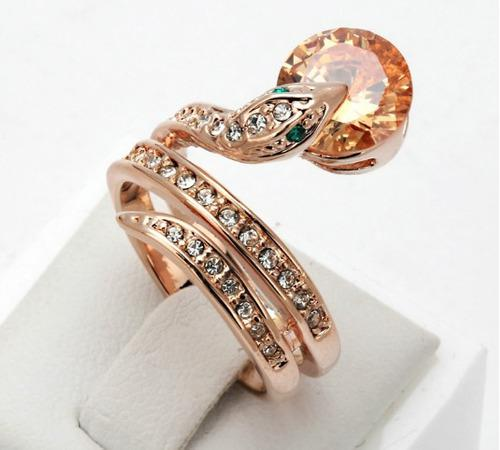 Anillo 18k Serpiente Cristal Oro Rosa Lam Envio Gratis