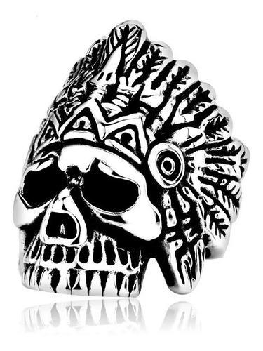 Anillo Calavera American Indian Acero Inoxidable 316l
