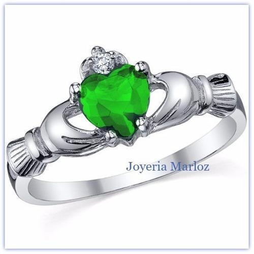Anillo Claddagh Promesa De Amor En Plata Y Baño Oro. Verde
