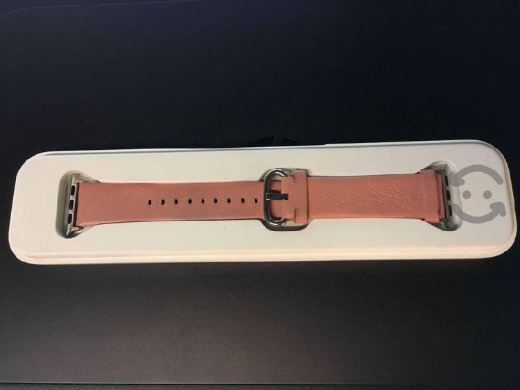 Correa apple watch 38mm piel color rosa en estuche