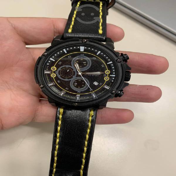 Reloj Tecnosport hombre cronografo negro piel