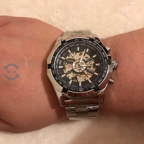 Reloj para caballero, de cuerda, acero inoxidable