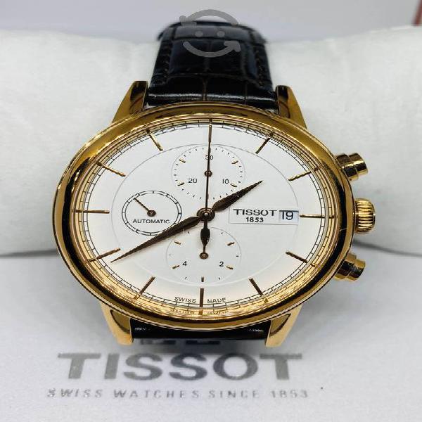 TISSOT CARSON Automático Piel/Café Cronómetro NEW!