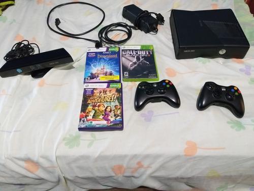 Xbox 360 Slim Con Kinect, 3 Juegos Y 2 Controles