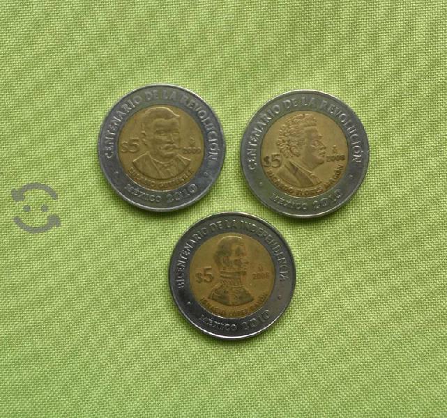3 Monedas de Colección de 5 Pesos