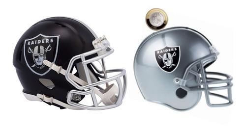 Nfl Kit Oakland Raiders Mini Casco Blaze Y Casco Alcancia