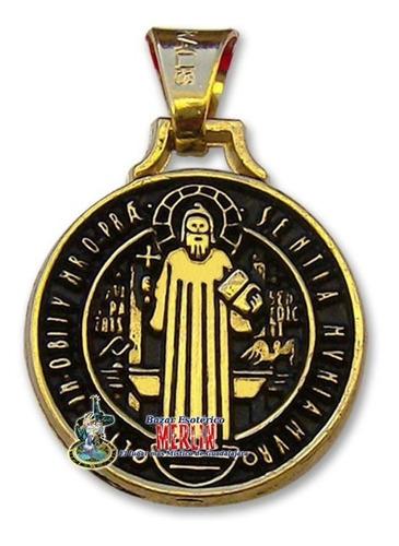 Medalla De San Benito Chapa De Oro Tamaño - Mini