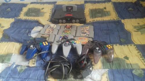 Nintendo 64 Con 10 Juegos Y 3 Controles Color Negro