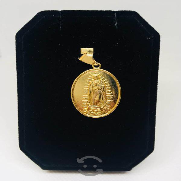 Medalla doble virgen guadalupe y papa chapa de oro