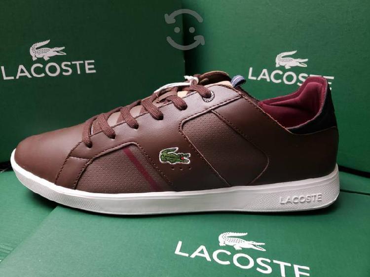 Tenis Lacoste 100% Originales Cafe de Piel Nuevos