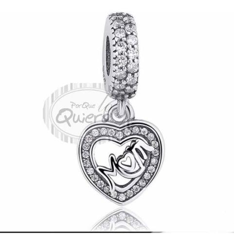 Charms Compatible Pandora 100% Plata Dije Corazón Mama