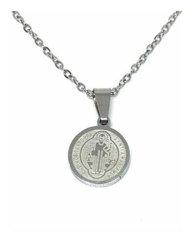 Collar Acero Inoxidable Con Medalla San Benito 1.2 Cm
