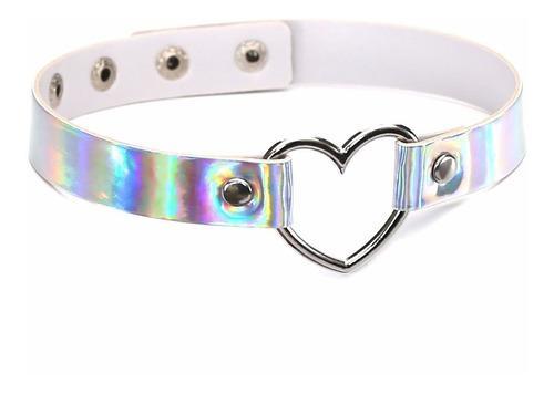 Collar Choker Tornasol Corazón Brilla Kawaii Envió Gratis