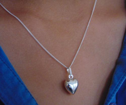 Collar Con Dije De Corazón Inflado. Plata 925
