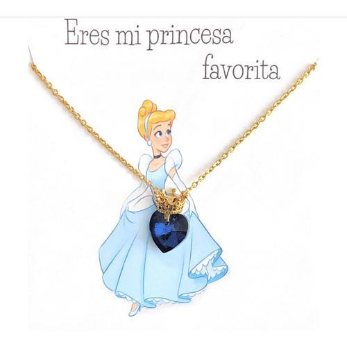Collar Con Frase De Princesa Cenicienta Corazón De Cristal