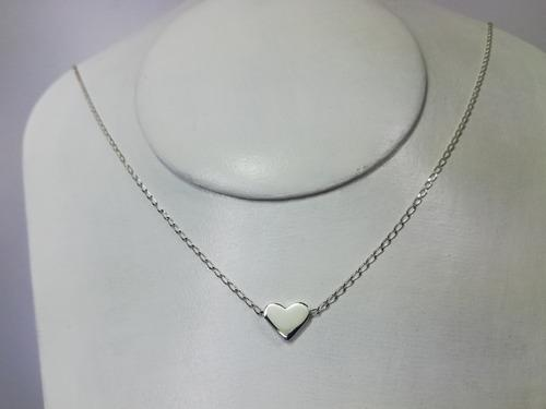 Collar Corazón Cartoneado Con Cadena Plata.925 Taxco