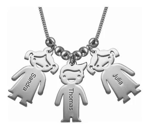 Collar De 3 Niños Con Cadena De Plata.925