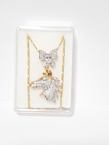 Collar De Caballo Y Moño Zirconias Blancas Oro Laminado