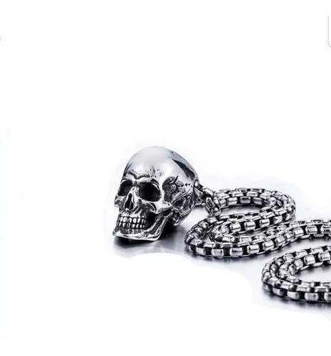 Collar De Calavera Craneo Acero Inoxidable Unisex Rocker