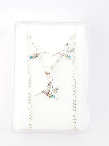 Collar De Colibrí Cristales Swarovski Y Aretes Plata