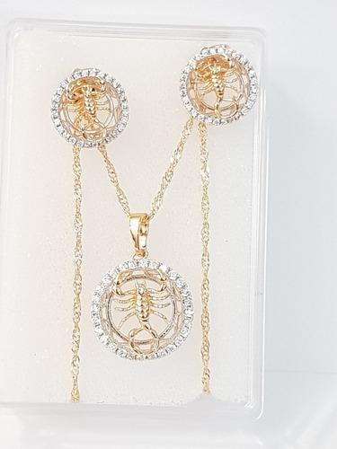 Collar De Escorpion Zirconia 2 Cm Y Aretes De Oro Lam Cc3