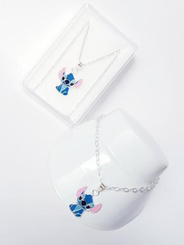 Collar De Stich Azul De Plata 925 Con Pulsera De 18 Cm Envio