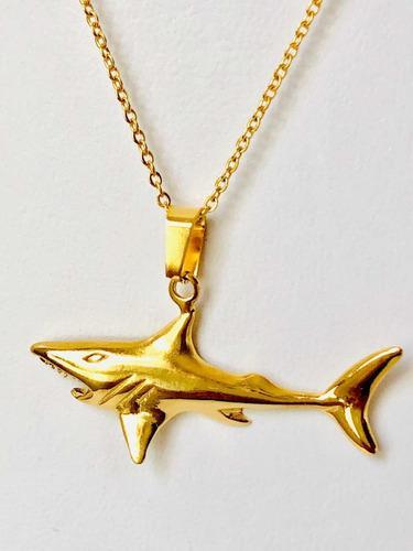 Collar De Tiburón Acero Inox Y Oro Laminado