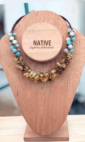 Collar De Ámbar Con Piedra Amazonita Tejido Macramé