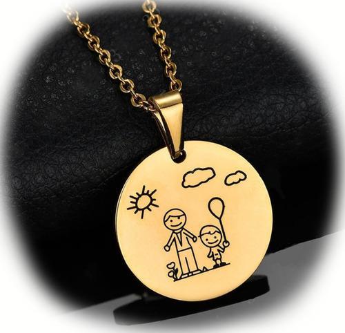 Collar Dije Medalla Papa E Hijo Amuleto Acero Inoxidable