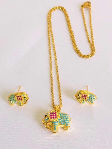 Collar Elefante + Aretes Y Estuche Oro Lam. 18k Zirconias