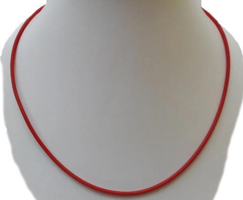Collar Gargantilla De Caucho 50cm Rojo Terminal Plata 925