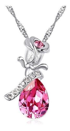 Collar Lágrima Angel Con Dije Flor Rosa Cristal Austriaco