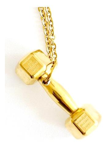 Collar Mancuerna Gym Oro Laminado.