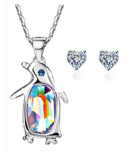 Collar Y Aretes De Oro Blanco Lam,cristal Swarovski Elements