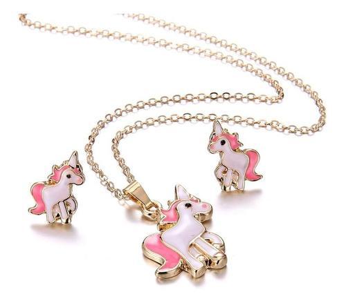 Collar Y Aretes De Unicornio Conjunto Dorado Envio Gratis