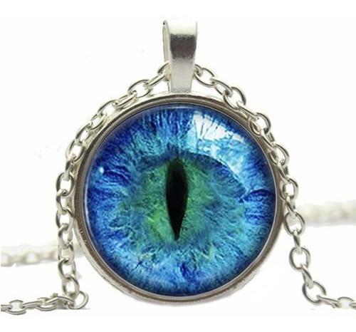 Collares Tipo Pendientes - Ojo De Gato - Cat Eye Blue