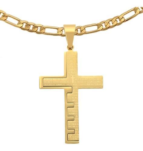 Cruz Crucifijo Oracion Hombre Y Cadena Cartier Oro Lamin 24k