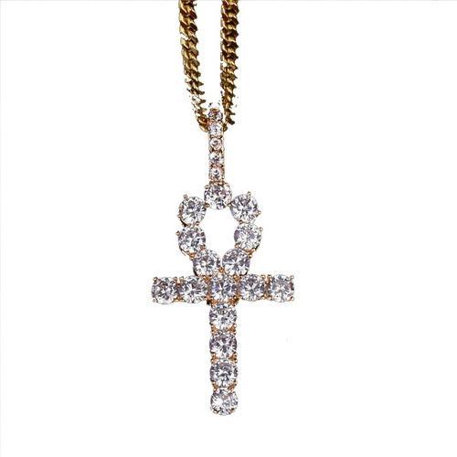 Dije Ankh Diamantado Cadena Acero Inoxidable Cruz Egipcia