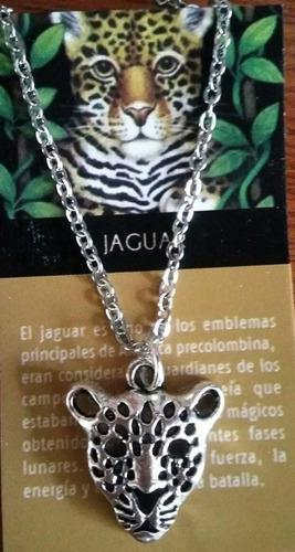 Dije Collar Jaguar Cadena Acero Inox Espiritual Poder Maya