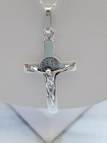 Dije Cruz Cristo San Benito Plata Ley.925 Incluye Cadena M1