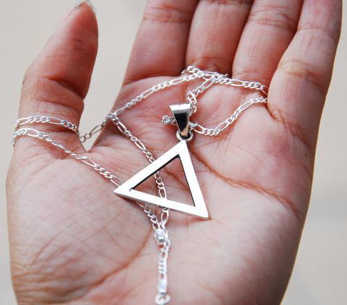Dije De Plata Triangulo, 3 Con Cadena