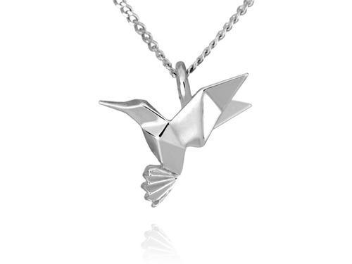 Dije Origami Colibrí De Plata Con Cadena 50cm