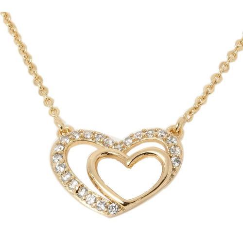 Fino Collar Dije De Corazón De Oro Lamin 18k Con Swarovski