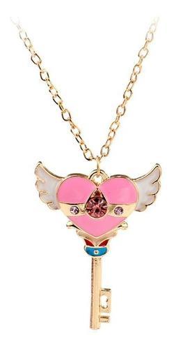 Hermoso Collar Sakura Card Captor Corazon Con Alas Llave