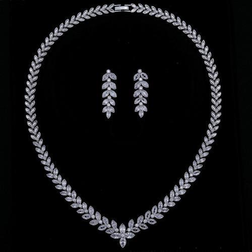 Juego Collar Y Aretes Oro Blanco Rodio Swarovski Para Novia