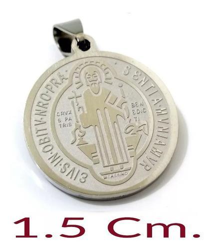 Medalla Dije San Benito 15mm Plateada Acero Inoxidable