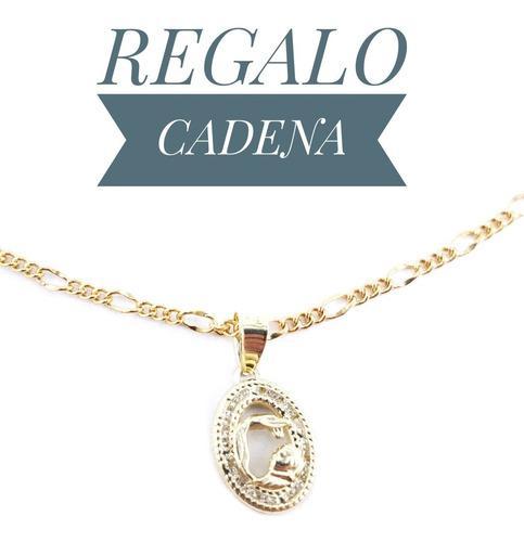 Preciosa Medalla Bautizo Oro 10k Medalla Y Cadena De Regalo