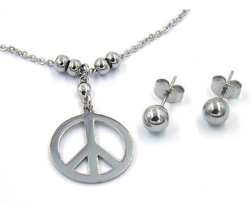 Set De Joyería Acero Plateado Collar Artes Amor Y Paz Eg