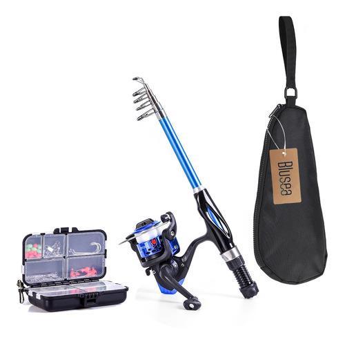 Kit De Pesca Completo Blusea Con Caña Extensible De 1.3 M