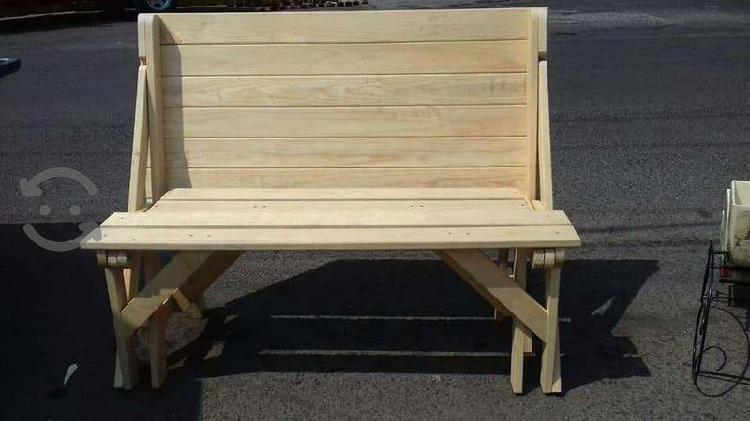 Mesa banca, mesa plegable de madera